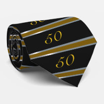 50th Birthday Tie Black, Silver and Gold