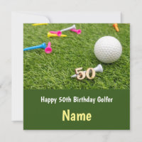 50th Birthday to golfer with golf ball and tees Card