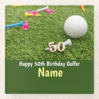 50th Birthday to golfer with golf ball and tees Glass Coaster