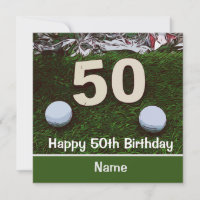 50th Birthday to golfer with two golf balls Card