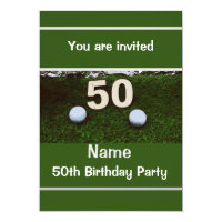 50th Birthday to golfer with two golf balls Invitation