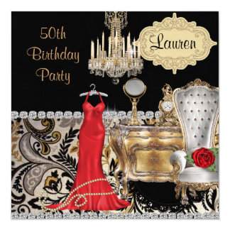 50TH BIRTHDAY VINTAGE BLING  Invitation
