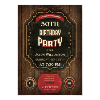 50th Birthday Vintage Chalkboard & Wood 5x7 Paper Invitation Card