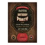 "50th Birthday Vintage Chalkboard & Wood 5"" X 7"" Invitation Card"