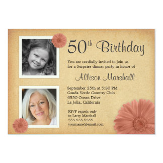 50th Birthday Vintage Daisy 2 Photo Invites