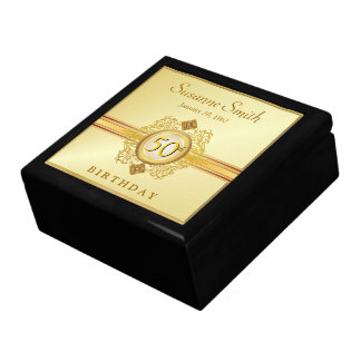 50th Birthday Vintage Gold Black Keepsake Gift Box