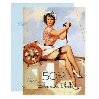 50th Birthday, Vintage, Sexy Pin Up Girl Sailing, Card