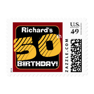 50th Birthday with Custom Name Striped Number A03 Postage