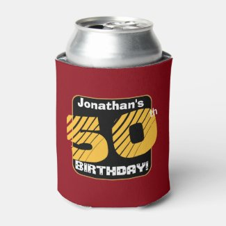 50th Birthday with Custom Name Striped Number A05 Can Cooler