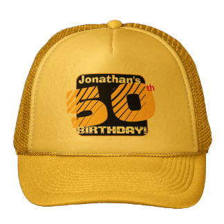 50th Birthday with Custom Name Striped Number A12 Trucker Hat