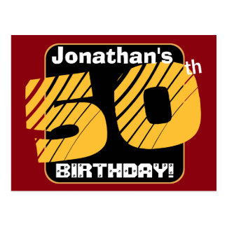 50th Birthday with Custom Name Striped Number A14 Postcard