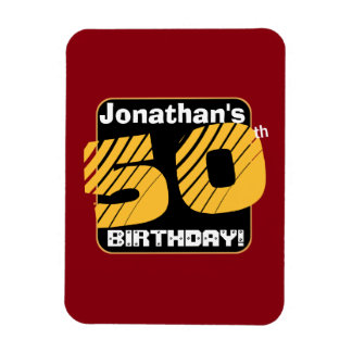 50th Birthday with Custom Name Striped Number A27 Magnet