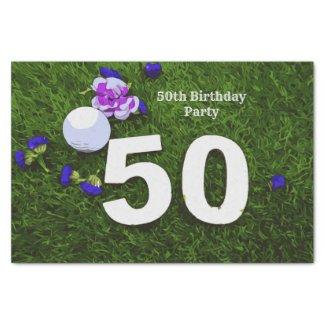 50th Birthday with golf ball and flower for golfer Tissue Paper