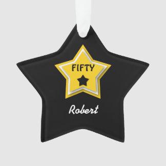 50th Birthday with Layered Stars GOLD BLACK L02Z Ornament