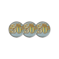 50th Birthday with number and gold ribbon Golf Ball Marker