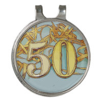 50th Birthday with number and gold ribbon Golf Hat Clip