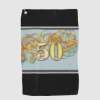 50th Birthday with number and gold ribbon Golf Towel