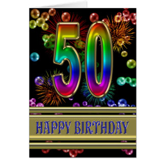 50th Birthday with rainbow bubbles and fireworks Card