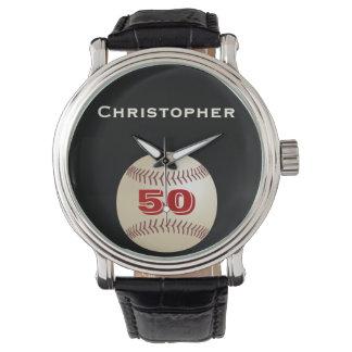 50th Birthday Wrist Watch, Personalized, Baseball Wrist Watch