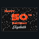 "50th Birthday Yard Signs<br><div class=""desc"">This 50th birthday yard sign features confetti on a black background with the words &quot;Happy 50th Birthday&quot; in red with white edging.  You may personalize the sign with the name of the birthday guy or gal.  A really great sign for a 50th birthday!  Copyright Kathy Henis</div>"