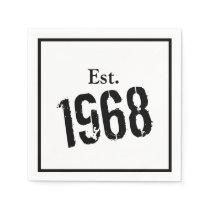 50th Birthday Year  1968 Custom Paper Napkin