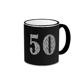 50th Birthday Zebra Print Ringer Coffee Mug