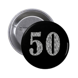 50th Birthday Zebra Print Pinback Button