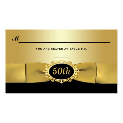 50th Black and Gold Reception Place Card Business Card Template