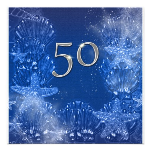 50th blue silver birthday tropical 5.25x5.25 square paper ...