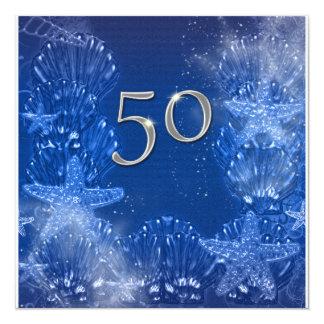 "50th blue silver birthday tropical 5.25"" square invitation card"