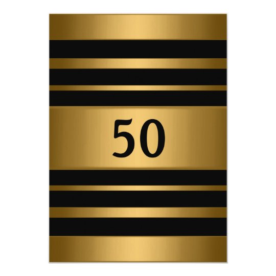 50th Bronze Gold Metal Black Masculine Party Card