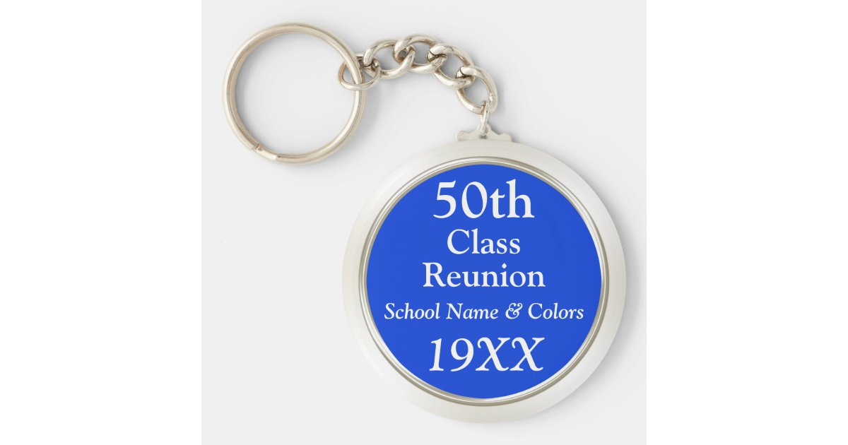 50th Class Reunion Gift Ideas Your Text Colors Keychain