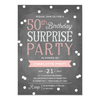 50th confetti surprise party invitation birthday - Surprise 50th Birthday Party Invitations