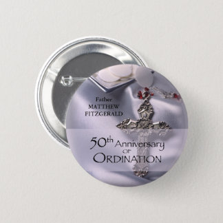 50th Custom Name Ordination Anniversary Chalice Pinback Button