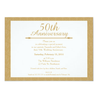 50th Damask Wedding Anniversary Invitation