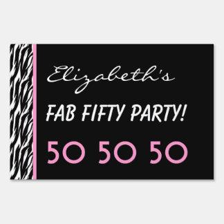 50th Fab Birthday Party Celebration Zebra V3 Yard Sign