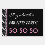50th Fab Birthday Party Celebration Zebra V3 Lawn Signs