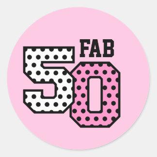 50th Fab Birthday Pink Polka Dots Z01 Classic Round Sticker