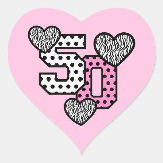 50th Fab Birthday Pink Polka Dots Z01 Heart Sticker