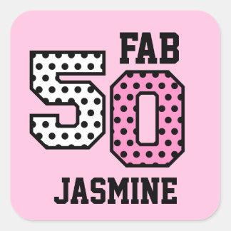 50th Fab Birthday Pink Polka Dots Z01 Square Sticker