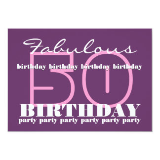 50th Fabulous Birthday Party Invite Template V3