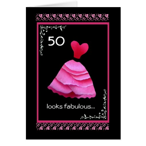 50th Fabulous Birthday With Pink Dress Greeting Card