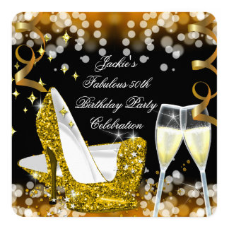 50th Fabulous Gold Glitter High Heels Birthday 5.25x5.25 Square Paper Invitation Card
