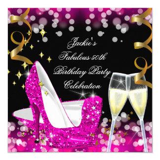 50th Fabulous Hot Pink Glitter High Heel Birthday Card