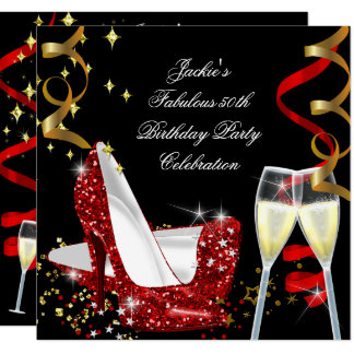 50th Fabulous Red Glitter High Heel Birthday Card