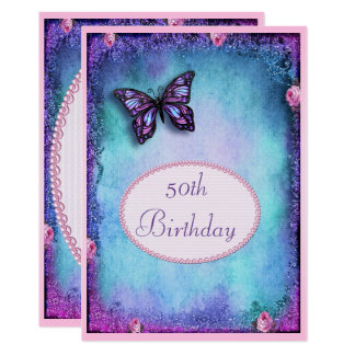 50th Faux Glitter, Butterfly, Roses & Lace Card