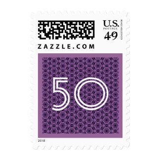 50th Fifty Birthday or Any Age Purple Postage Stamp