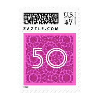 50th Fifty Birthday Party Striped Number V10 Postage Stamp