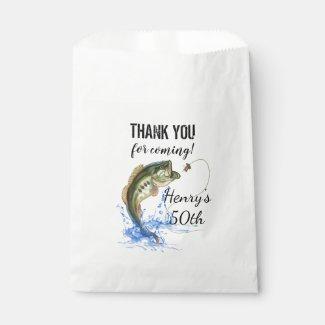 50th Fishing Birthday Thank You Favor Bag