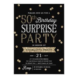 50th birthday invitations zazzle 50th glitter confetti surprise party invitation filmwisefo Images